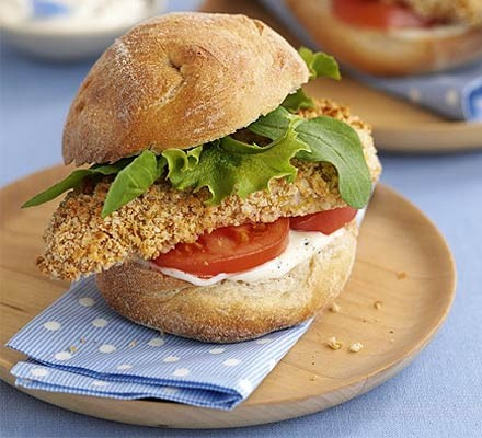 Crisp Chicken Burgers With Lemon Mayo Recipe Bbc Good Food