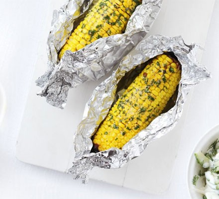 Buttery baked corn on the cob