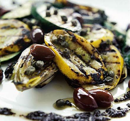 Courgettes & chicory with black olive dressing_image