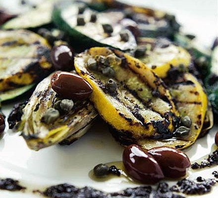 Courgettes & chicory with black olive dressing