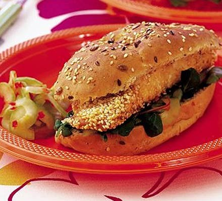 Sesame salmon subs with cucumber pickle