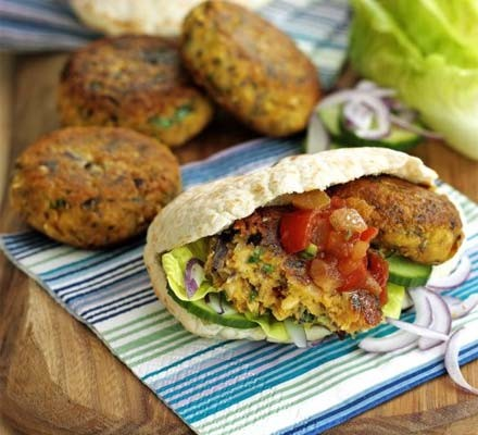 Falafel burgers in a pitta bread with salsa