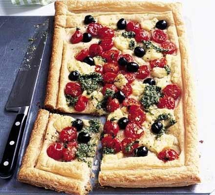 Cheese, tomato & pesto tart