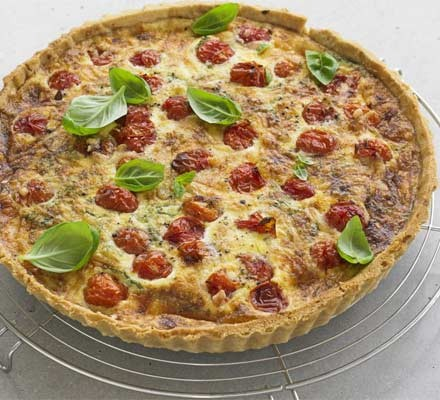 Roasted tomato, basil & Parmesan quiche