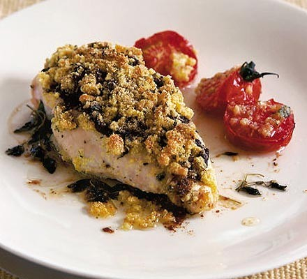 Chicken with Parmesan crumbs