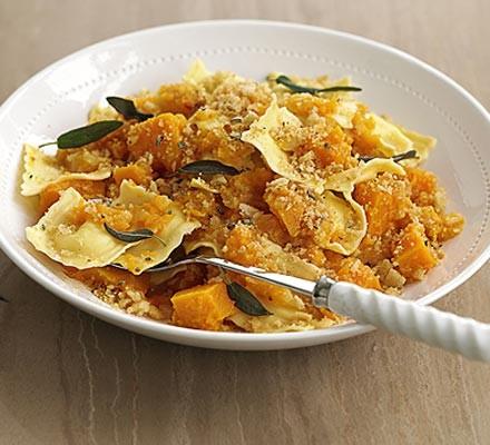 Ravioli with squash & crunchy crumbs