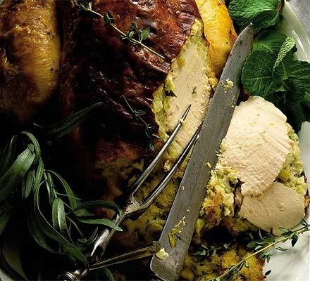Roast chicken with leek, tarragon & goat's cheese stuffing