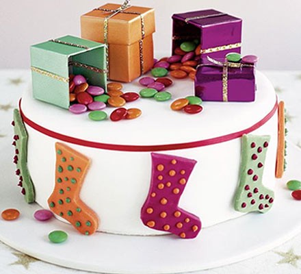 Santa's stocking cake