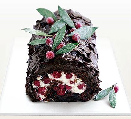 Dark chocolate & cranberry roulade