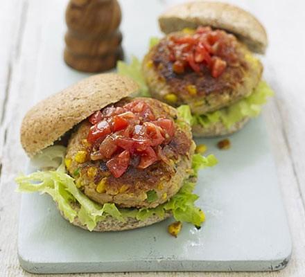 Tuna sweetcorn burgers