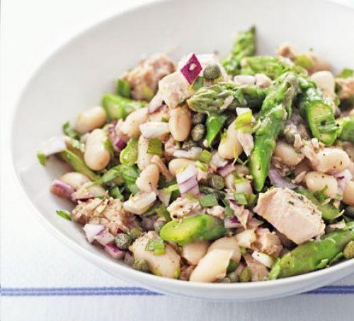 A bowl of tuna, asparagus and white bean salad