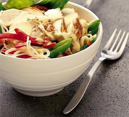 Warm chicken noodle salad
