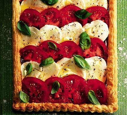 Tomato & mozzarella tart with roast pepper pesto