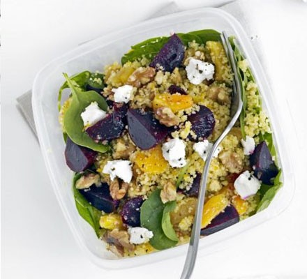 Beet, spinach & goat's cheese couscous