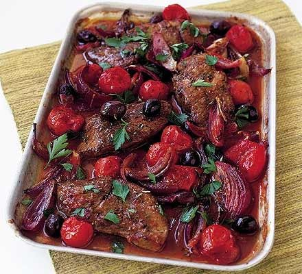 Lamb steaks with tomatoes & olives