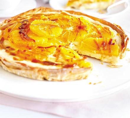Orange & caramel custard tart