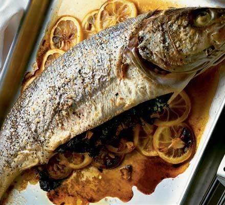 Baked sea bass with lemon & herbs (with Tarator sauce)