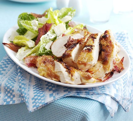 Quick Caesar salad with roast chicken & bacon