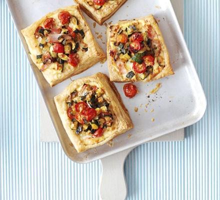 Courgette, ham & ricotta tarts