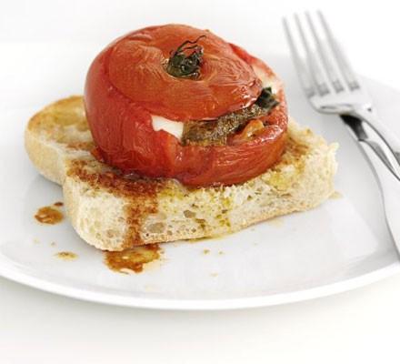 Stuffed tomato on toast