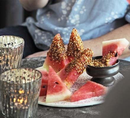 Watermelon with dukkah dip