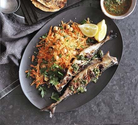 Chermoula-marinated mackerel