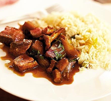 Stir fry of duck & winter vegetables