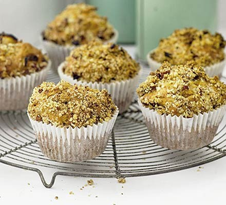 Apple muffins with pecan topping