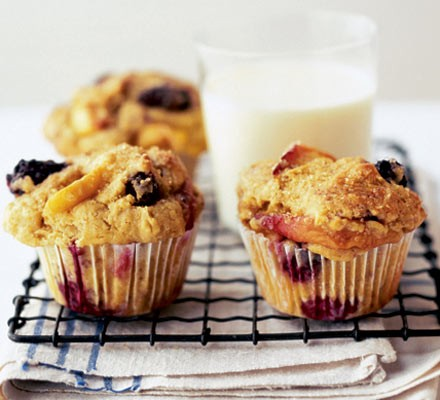 Blueberry, peach & soured cream muffins