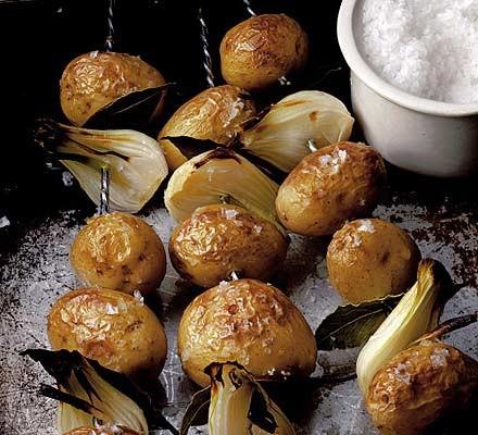 Potatoes on skewers