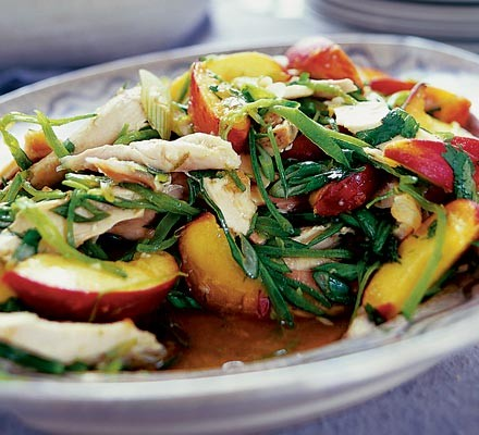 Ginger chicken & peach salad on a plate