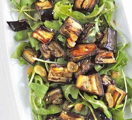 Marinated aubergine & rocket salad