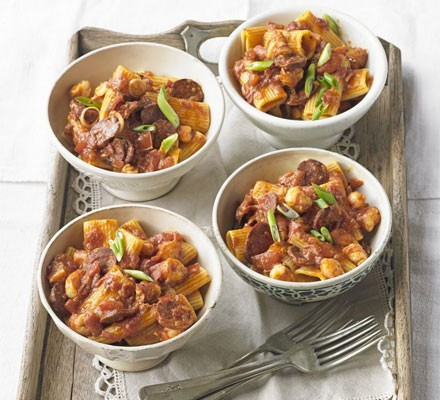 Rigatoni with spiced prawns, tomatoes & chorizo