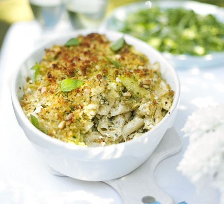 Courgette & basil pasta with pesto crumbs