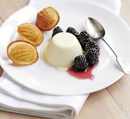 Lemon panna cotta with blackberries & honey madeleines