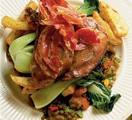 Spiced green lentil ragoût
