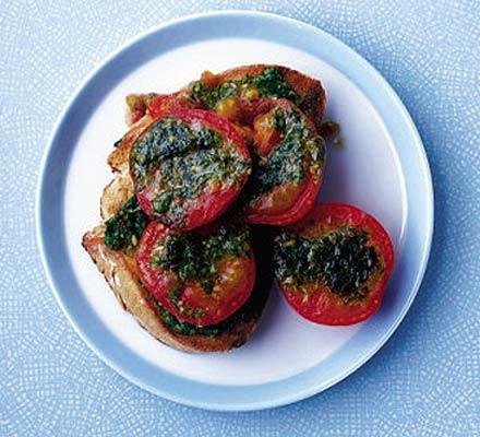 Grilled pesto tomatoes on toast