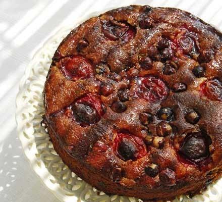 Plum, hazelnut & chocolate cake