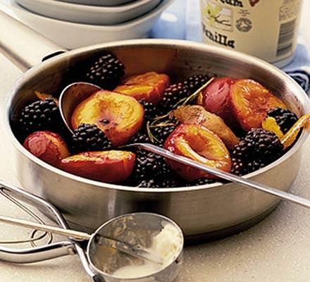 Plums & blackberries in rosemary syrup