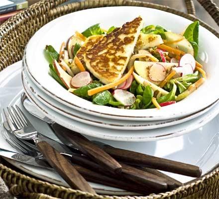 Warm halloumi with radish, apple & pecan salad