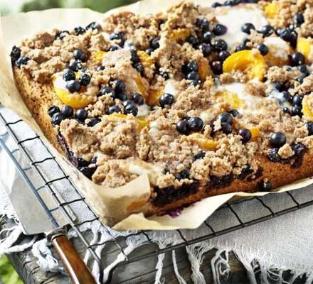 Apricot & blueberry crumble cake