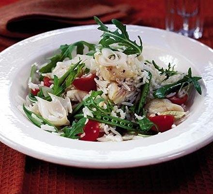Warm smoked haddock, rocket & basmati rice salad