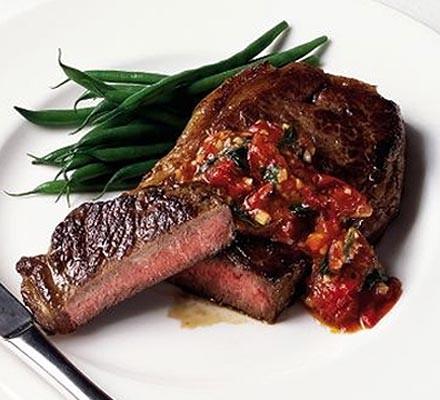Steak with pizzaiola sauce