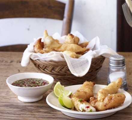 Sole goujons with Thai sauce
