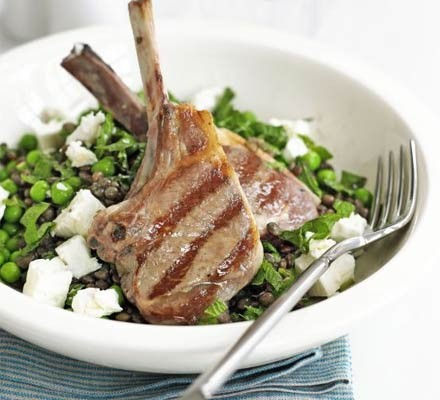 Lamb cutlets with lentil & feta salad