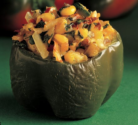 Peppers filled with corn, chilli & cheese