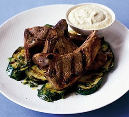 Sizzled lamb chops & courgettes