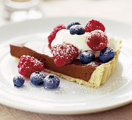 Chocolate tart with crème fraîche & raspberries