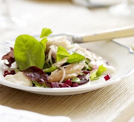 Smoked mackerel salad with beetroot & horseradish dressing