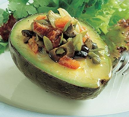 Warm stuffed avocados